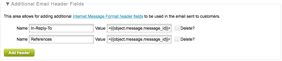 Advanced Settings Additional Email Header Fields
